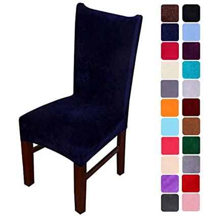 Sensational Smiry Velvet Stretch Dining Room Chair Covers Soft Removable Dining Chair Slipcovers Set Of 6 Navy Blue Frankydiablos Diy Chair Ideas Frankydiabloscom