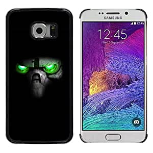 Planetar® ( Green Eyes Skull ) Samsung Galaxy S6 EDGE / SM-G925 / SM-G920A / SM-G925T / SM-G925F / SM-G925I Fundas Cover Cubre Hard Case Cover