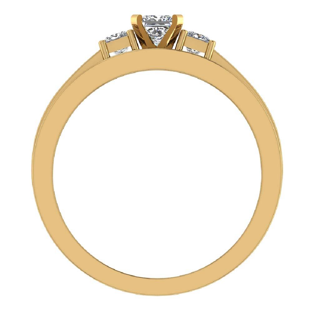 Past Present Future Princess Cut Diamonds 3 stone Accent Round Diamonds Wedding Ring Set 1.06 carat total weight 14K Yellow Gold (Ring Size 8) by Glitz Design (Image #3)