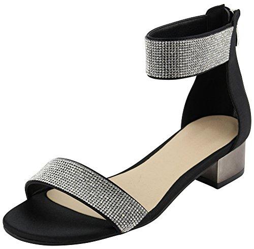 Cambridge Select Women's Open Toe Single Band Ankle Strappy Crystal Rhinestone Chunky Block Low Mid Heel Dress Sandal (8 B(M) US, Black)