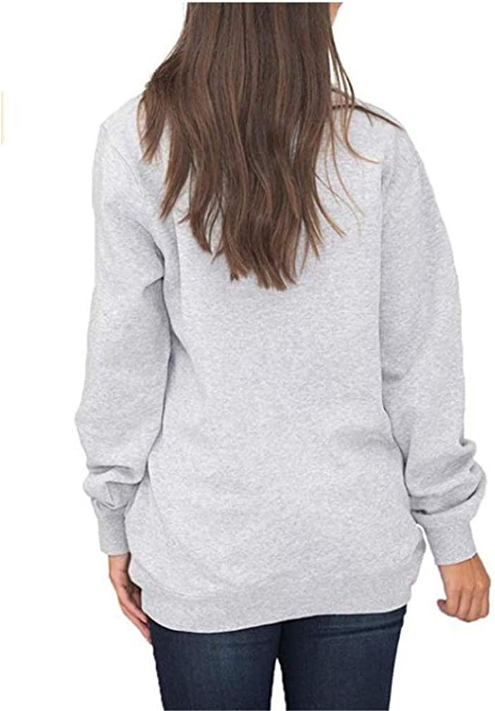 Honghu Women Quarter Zip Casual Pullover Sweatshirt Tops with Pockets