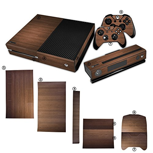 COSMOS Wood Grain Pattern Full Body Protective Vinyl Skin Decal for Xbox one Console and Controllers