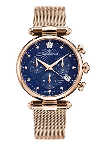 Claude Bernard Ladies-Wristwatch Dress Code Chronograph Date Quartz 10216 37R BUIFR2