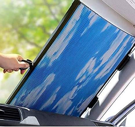 separation shoes 33e1a 91c03 Le Remio Car Windshield Sun Shade, Retractable Sun Shade, Easy to Install  and Use, Universal Car Sun Shades Keep Your Vehicle Cool (Blue-White, 60CM)