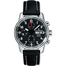 Revue Thommen Airspeed XLarge Men's Black Dial Black Leather Strap Automatic Chronograph Day Date Swiss Watch 16051.6537