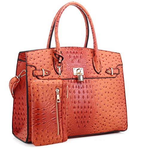 - New Ruby Fashions Ostrich Embossed Large Tote + Wristlet (Orange)