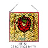 HF-33 Rural Vintage Tiffany Style Handmade Stained Glass Window Hanging Glass Panel Suncatcher, 22.5''x22.25''
