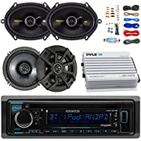 Kenwood KDCBT32 Car Bluetooth Radio USB AUX CD Player Receiver - Bundle Combo With 2x Kicker CS654 6.5 300W 2-Way Coaxial Speakers + 2x 6x8 450W Speaker + 4-Channel Amplifier + Amp Kit