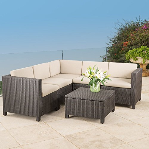 Outdoor Wicker 5 Piece Sectional Patio Set with Ultra Comfortable Cushions