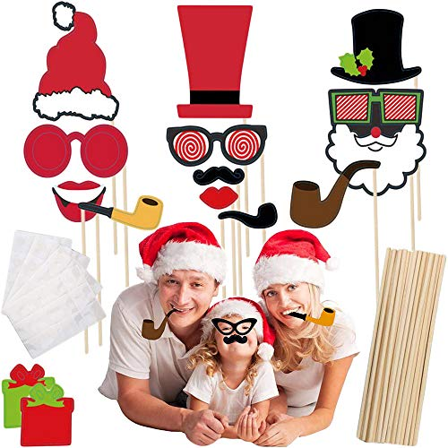 Photo Stick Props Christmas Crafts Photo Booth Props DIY Posing Selfie Paper Props for Kids Adults 45 Pcs Picture Props Accessories Party Favors for Birthday Wedding Decor -