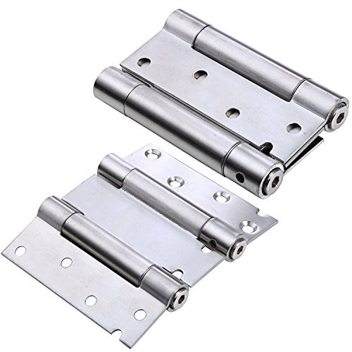 Ranbo stainless steel ball bearing heavy duty Double Action spring loaded door swing hinge ,automatic closing/self closer/adjustable tension 4 x 5.2 inch brushed chrome( Pack of 2)thickness 2.4 - Access Door Single Hinge