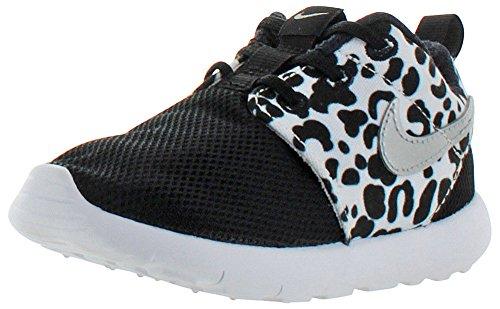 Nike Toddlers Roshe One Print (TDV) Black/Metallic Silver/White Running Shoe 10 Infants US (Nikes For Toddlers)