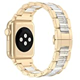 Wearlizer Compatible Apple Watch Band 42mm Womens Mens, Aluminum Wristband Replacement iWatch Lightweight Strap, Stainless Steel Buckle Clasp Series 3 Series 2 Series 1 Nike+ Edition-Champagne Gold