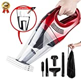 Car Vacuum Cleaner DC 12V 100W Wet Dry Auto Dustbuster Portable Handheld Auto Vacuum Cleaner for Car 5000Pa Suction Car Hoover with HEAP Filter&5Meters/16.4FT Power Cord(1 Yr Warranty) Wine Red
