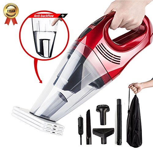 C 12V 100W Wet Dry Auto Dustbuster Portable Handheld Auto Vacuum Cleaner for Car 5000Pa Suction Car Hoover with HEAP Filter&5Meters/16.4FT Power Cord(1 Yr Warranty) Wine Red (Anti Static Vacuum)
