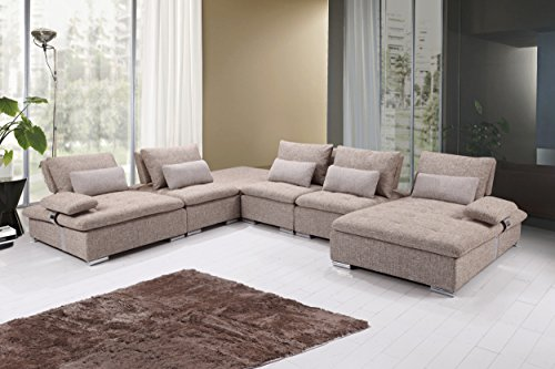 U.S. Livings Mira Modern Living Room Fabric 6-Piece Modular Sofa Set (Sandstone) For Sale