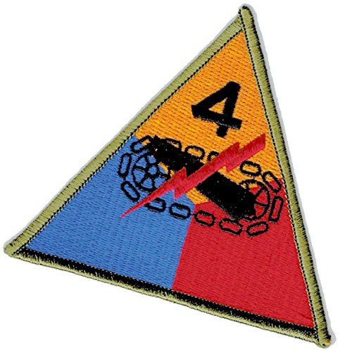 [Single Count] Custom and Unique (4'' Inch) Triangular Simple Basic Fourth Armored Division Island Design Iron On Embroidered Applique Patch {Red, Yellow, & Blue Colors} by mySimple Products