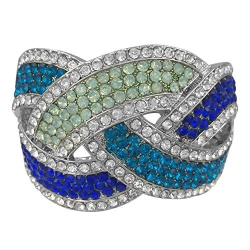 Aqua Blue Rhinestone (Gypsy Jewels Multi Color & Multi Shape Rhinestone Unique Statement Hinged Bangle Bracelet (Royal Aqua Light Blue Silver Tone))