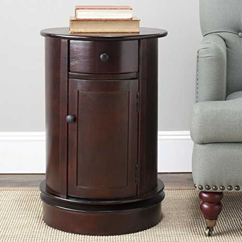 Safavieh American Homes Collection Tabitha Dark Cherry Oval Swivel Storage End (Cherry Oval Side Table)