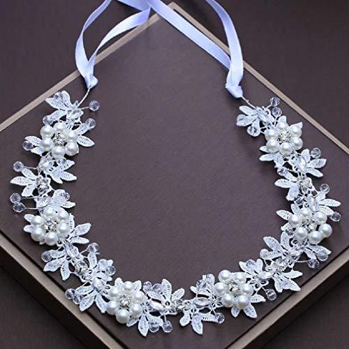 Flowers/Pearl Garland Leaf Bridal Wedding/Sweet Sixteen/Flower Girl/Quinceanera Crown Headdress (Lace Flowers & Pearls Garland)