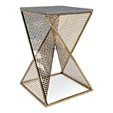 Kate and Laurel Elita Gray Wood and Metal Accent Side Table, Gray with Gold Base