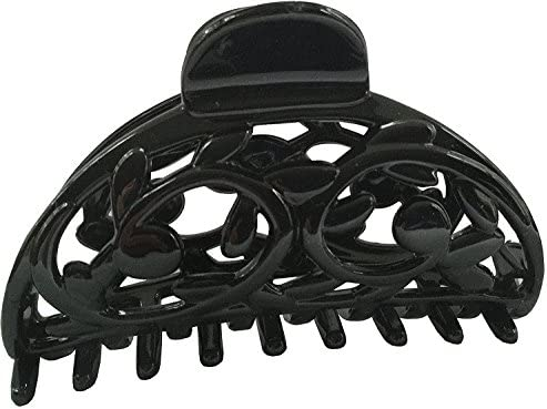 Parcelona French Boss Thin Glossy Black Medium Covered Spring Jaw Hair Claw Clip