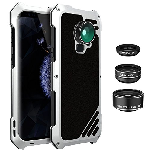 Galaxy S9 Lens Kit Case, SHEROX - 3 in 1 198° Fisheye Lens + 15X Macro Lens + Wide Angle Lens with IP54 Dustproof Shockproof Aluminum Case for Samsung Galaxy S9 (Silver) - Metal Case Camera