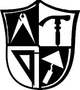 Gremio Masónico en forma de escudo H = 40cm de 90cm de acero fuerte como la artesanía de albañil