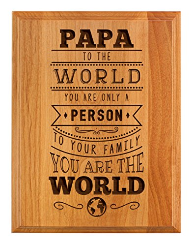 (ThisWear Papa Gifts to Your Family You Are the World Father Day Gifts for Papa Grandpa 7x9 Oak Wood Engraved Plaque Wood )