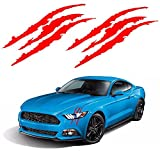 window decals racing - YGMONER 2PCS Claw Marks Decal Reflective Sticker 16 x 5in (red)