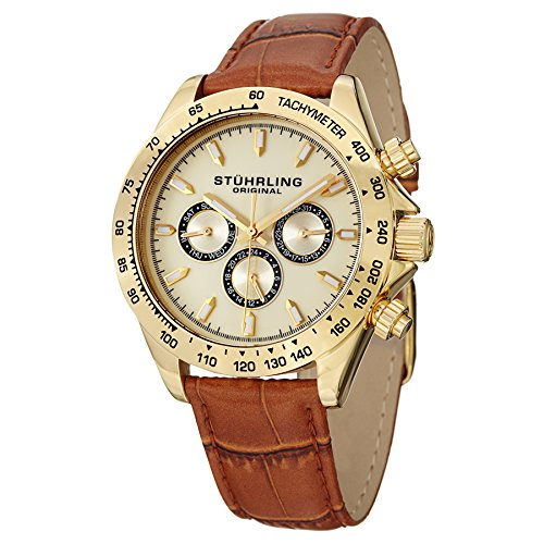 Stuhrling Original Men's 564L.02 Triumph Classic Swiss Quartz Multifunction Gold-Tone Watch