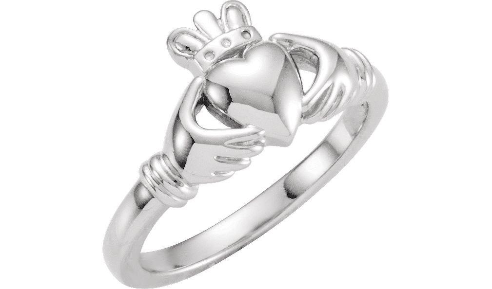 Boy's Girl's 14k White Gold Claddagh Ring, Size 5.75