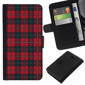 Planetar® Modelo colorido cuero carpeta tirón caso cubierta piel Holster Funda protección Para Sony Xperia M2 / M2 dual ( Teal Red Pattern Scottish Lines )