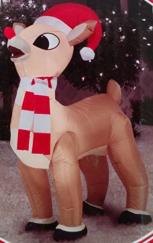 3.5ft Inflatable Standing Rudolph with Santa Hat and (Multi Magic Scarf)