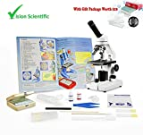 Vision Scientific VME0020-E2-P2 Student LED Microscope, 40x-800x Magnification, LED Illumination, Microscope Book, Microscope Discovery Kit, 25 Prepared Slides Set, Free Gift Package ($10 Value)