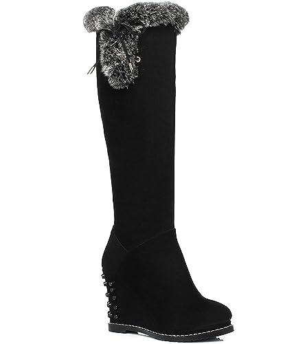 541fc19f38be Dayiss® Damen Stiefel Stiefeletten Keilabsatz Langschaft Schnür Leder  Winter Herbst Schuhe Fell (