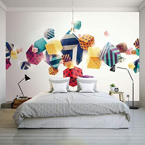 Amazhen Custom 3D Wallpaper Modern 3D Stereo Color Box Wallpaper Living Room Bedroom Hotel Studio Office Custom Dressing Room ()