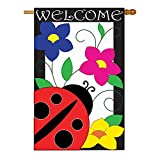 Two Group – Spring Ladybug Garden Friends – Everyday Bugs & Frogs Applique Decorative Vertical House Flag 28″ x 44″ For Sale