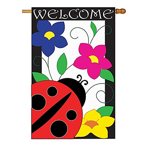 Two Group - Spring Ladybug Garden Friends - Everyday Bugs & Frogs Applique Decorative Vertical House Flag 28