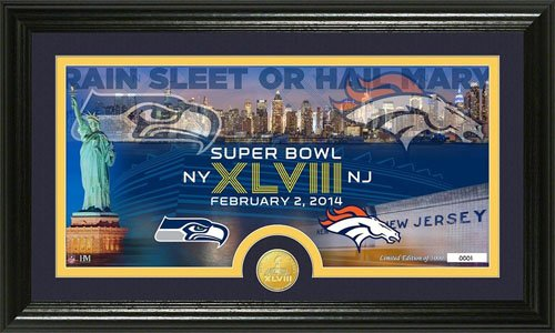 Seattle Seahawks Vs Denver Broncos Super Bowl 48 Bronze Coin Panoramic - Photomint Highland