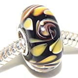 "Solid 925 Sterling Silver ""Black Background with Yellow Flowers Petals and Purple Swirls"" Glass Charm Bead for European Snake Chain Bracelets"