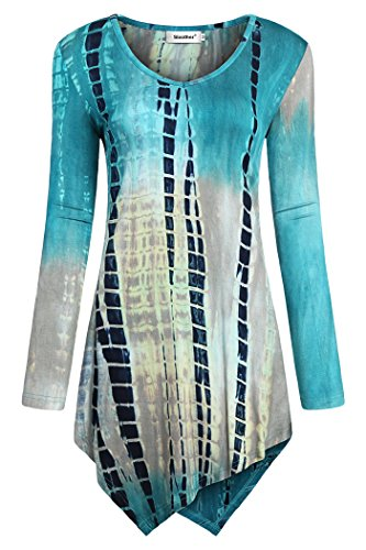 Sixother Women's Blouse for Work, Female Long Sleeve Tie Dye Tunics Scoop Neck Shirt Tops Lightweight Casual Spring Blouse Blue Grey M Tie-Dye Linen Blender Cotton Paisley Printed Tops Pretty ()