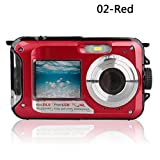 Eachbid Digital Video Recorder Cameras Waterproof Underwater Digital Camera 24MP 1080P Dual Screen Point and Shoot Red