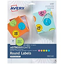 """Avery Astrobrights Round Labels for Laser & Inkjet Printers, Assorted Colors, 1-2/3"""", 240 Labels (4330)"""