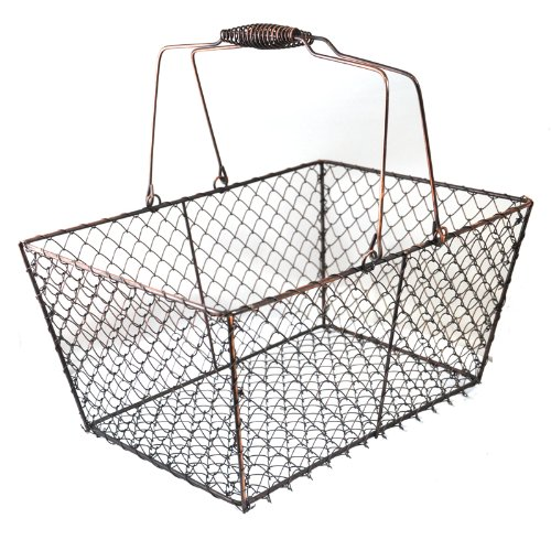 Wire Storage Basket with Handles for Shelves, Pantry, Closet or Home Decor by HomeSimple (Copper)