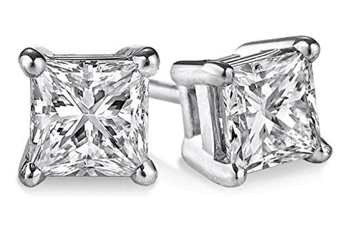 PARIKHS IGI Certified 0.70ct up Princess cut Diamond stud 14K from 0.04ct to 2.00ct Clarity-I3-I4