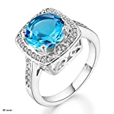 Ritzy Glam Cubic Zirconia Platinum Plated Ring | Stunning Crystal Blue March Birthstone in Platinum Halo Setting with 28 CZ Stones | Nickel-Free, Anti-Allergy, Round Cut Fashion Jewelry for Women