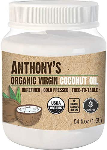 Anthony's Organic Virgin Coconut Oil, 54oz, Unrefined, Cold Pressed, Tree to Table, Keto Friendly