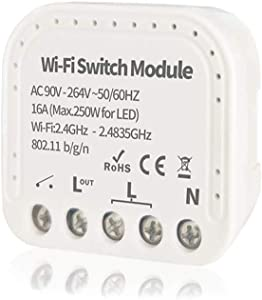 WiFi Relay Switch Self-Locking Switch Module, AC 90-264V WiFi Relay Switch Module Smart Life/Tuya APP Remote Control Switch Relay Module, Compatible with Alexa Echo Google Home