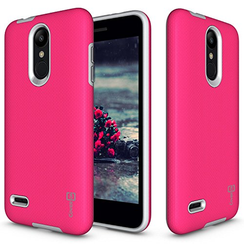 LG K8 2018 Case, LG K8 Plus 2018 Case, LG Aristo 2 Plus/Fortune 2 / Risio 3 Case, CoverON [Rugged Series] Protective Shock Absorbing Phone Cover with Easy-Press Metal Buttons - Hot Pink